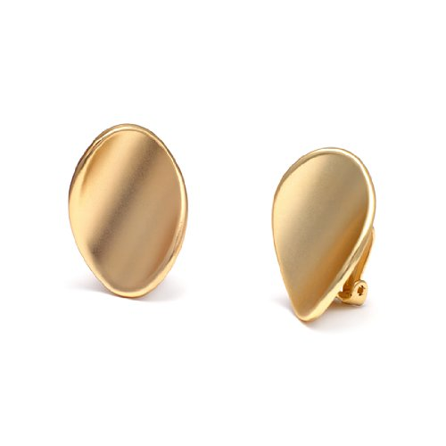 Rodney Holman Brushed Gold Warped Disc Clip On Earrings