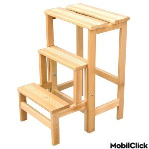 scaletta in legno ikea : SGABELLO LEGNO RETRATTILE SCALETTA SCALA 3 GRADINI: Amazon.it: Casa e ...