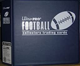 Ultra Pro BLUE Football Card Album (3 Inch D-Ring Binder) and a Sealed Box of 9 Pocket Storage Sheets (100 Pages).