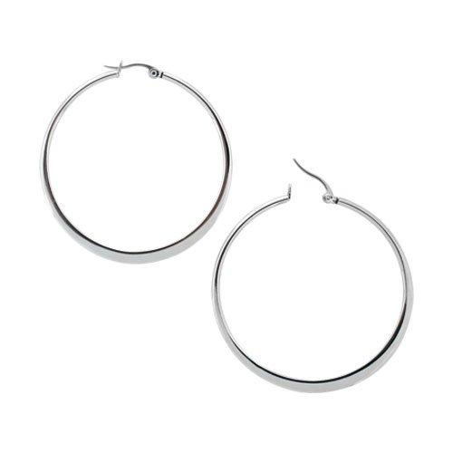 Inox 50mm Flattened Stainless Steel Hoop Earrings
