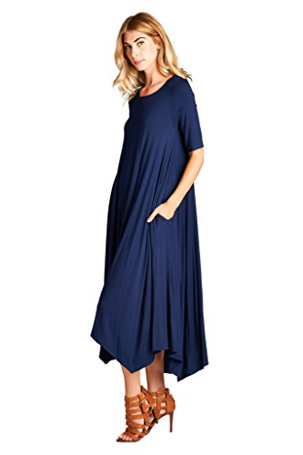 Spicy Mix Rayon Short Sleeve Hi/Lo Hem Tunic Maxi Dress + Front Pockets Spy Navy XL (Maxi Mix compare prices)