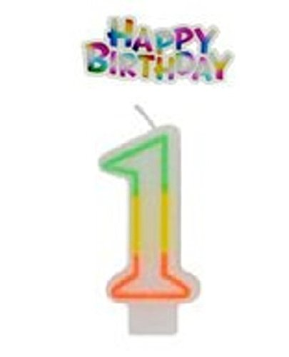 "Numeric Birthday Candle & ""Happy Birthday"" Cake Decoration (Number ""1"") - 1"