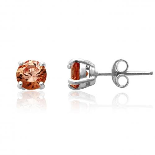 Sterling Silver 6Mm Champagne Cz Cubic Zirconia Round Stud Earrings