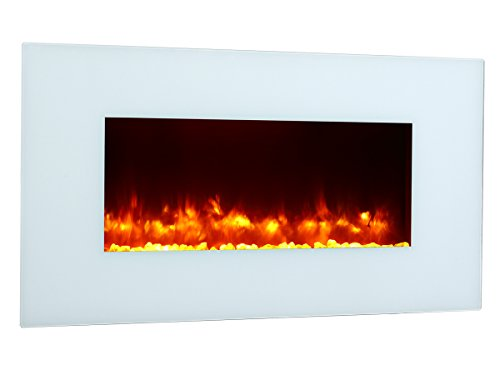 Puraflame Rossano 47 Inch Remote Control Wall Mounted Flat Panel Fireplace Heater, 750W/1500W. Ivory And Classic, High Quality, Anti-Drying, Keep Indoor Humidity