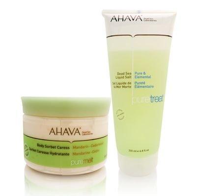 AHAVA Pure Spa (Mandarin  Cedarwood) (Dead Sea Liquid Salt + Body Sorbet Caress) 2 Piece Set