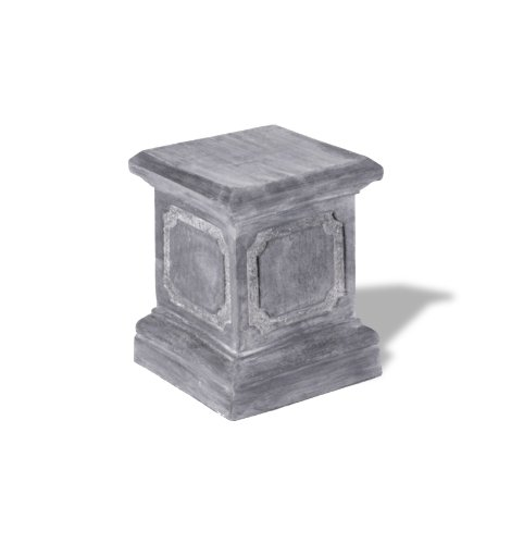 Amedeo Design ResinStone 1900-1G Paneled Pedestal, 15 by 15 by 20-Inch, Lead Gray