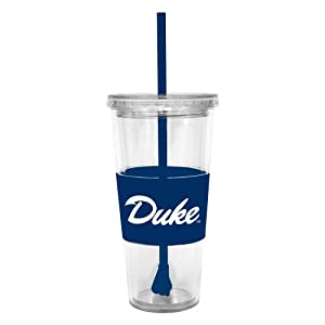 Buy NCAA Duke Blue Devils 22 Ounce Insulated Tumbler with Rubber Sleeve and Stir Straw by Boelter Brands
