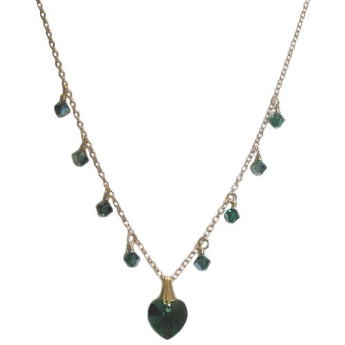 Heart Necklace with SWAROVSKI ELEMENTS Emerald Green Crystals 14K Gold Fill