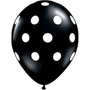 12 Black and White Polka Dot Balloons! by Qualatex