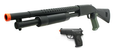 Shotgun and Pistol Black Airsoft Package. Airsoft