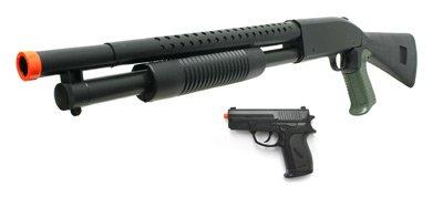 Shotgun and Pistol Black Airsoft Package. Airsoft