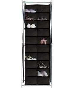 silver x frame canvas 20 pocket shoe storage unit black