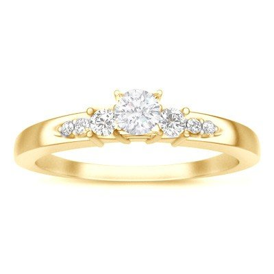 0.58 Carat Affordable Diamond Engagement Ring with Round cut Diamond on 18K Yellow gold