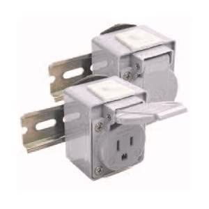 Receptacle, DIN Rail Mount, 15A/250VAC, IP54, Blue: Electrical Outlets