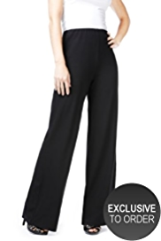 Petite Wide Leg Stretch Trousers