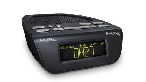 Pure Siesta Mi Radiowecker (DAB/DAB+/UKW mit RDS, 16 Senderspeicherplätze, 2 Weckfunktionen) schwarz