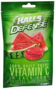 Halls Cough Drops Defense Vitamin C Watermelon 30 Ct (Pack Of 2)