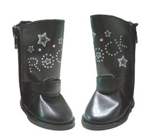 "Doll Clothing Rocker Boots Shoes. Fits American Girl or Any Similiar 18"" Dolls. Black Boots with Stars and the Word Rock on Them - 1"