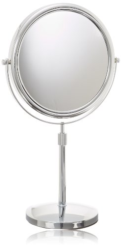 Jerdon Jp4045C 9-Inch Tabletop Two-Sided Swivel Vanity Mirror With 5X Magnification, 16.5-Inch To 21.5-Inch Adjustable Height, Chrome Finish front-309730