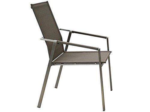 LEON Garten Stuhl hoch Sit Mobilia Edelstahl Leisuretex Taupe online bestellen