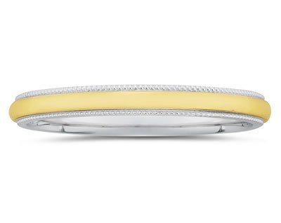 Two Toned Gold Milgrain Edge Women's Wedding Band