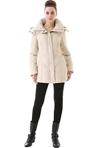 "BGSD Women's ""Jenn"" Quilted Down Coat - Beige S"