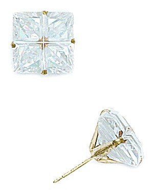 14k Yellow Gold 10x10mm 4 Segment Square CZ Light Prong Set Earrings - JewelryWeb