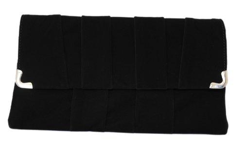 Girly Handbags Women'S Faux Suede Pleats Clutch Black