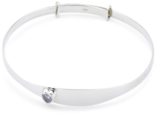 Silver Childs Birthstone Expanding Identity Bangle April