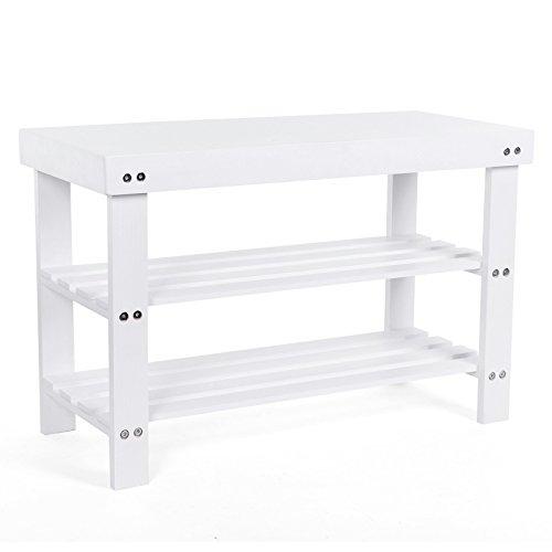 2ced2e8f9e50 Songmics 2 Tier Pine Shoe Rack Bench Storage Organiser Holder White 70 x 45  x 29