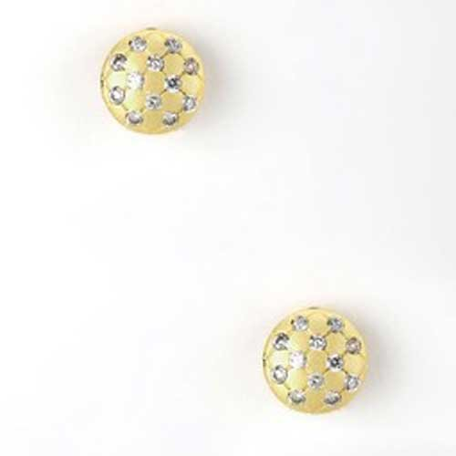 C.Z. Round Botton 14K Vrmeil Matte Yellow Gold (.925) Sterling Silverearrings (Nice Holiday Gift, Special Black Firday Sale)