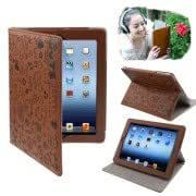 Cute Leather Case with Holder for iPad 4 / New iPad (iPad 3), Brown