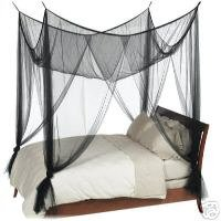 Black 4 Poster Bed Canopy Mosquito Net Full Queen King