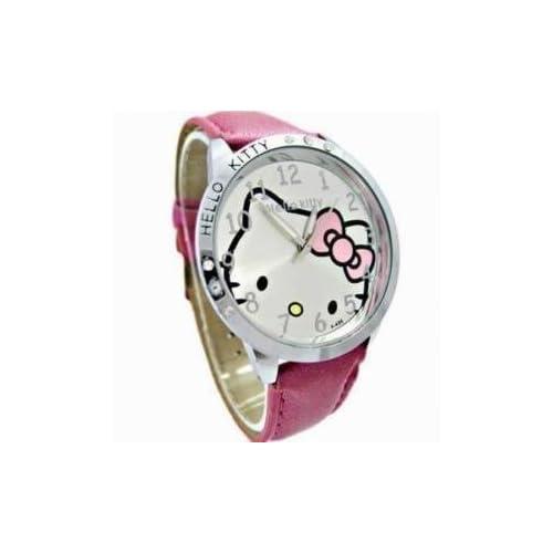 Pink Leather Hello Kitty Quartz Watch