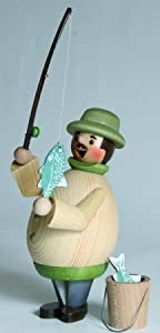 Happy Fisherman with Fish Pole German Incense Smoker by Kuhnert