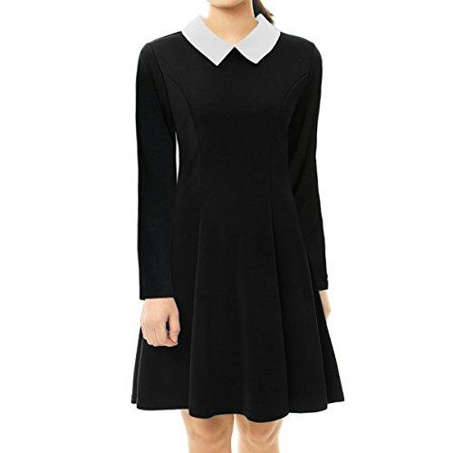 Vanberfia Women's Long Sleeve Casual Peter Pan Collar Dress (M, 8225)