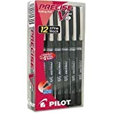 Pilot Precise V5 Needlepoint Rolling Ball Point Pen, Extra Fine, Black, 12 Count
