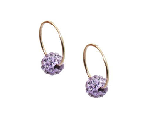 10k Gold Children's 6mm Violet Crystal Slider Hoop Earrings