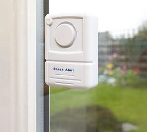 Vigilant 120dB Window Glass / Any Door Alarm Vibration Security Emergency Burglar Alarm with Warning Sticker and Wireless Installation (PPS36)