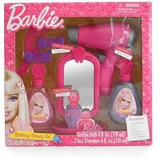 BARBIE BATHING BEAUTY SET Includes Play Hair Dryer Mirror Comb Barrettes Bubble Bath and Shampoo - Beauty Salon (Barbie Hair Dryer compare prices)