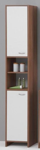 MADRID Premium Tall Bathroom Cupboard / Tallboy Unit in White and Plum Tree Finish by DMF