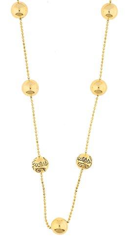 GUESS Damen Halskette Edelstahl , gelbgoldfarbig, Kugeln teilweise graviert mit Guess-Logo UBE80817 thumbnail