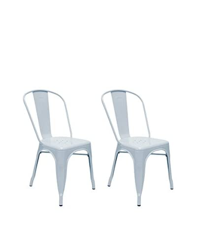 Aeon Euro Home Collection Set of 2 Garvin-1 Chairs, Light Blue