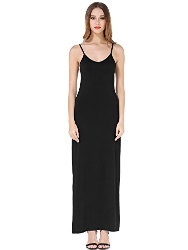 KIRA Women's Adjustable Spaghetti Straps Long Cami Slip Dress Small Black