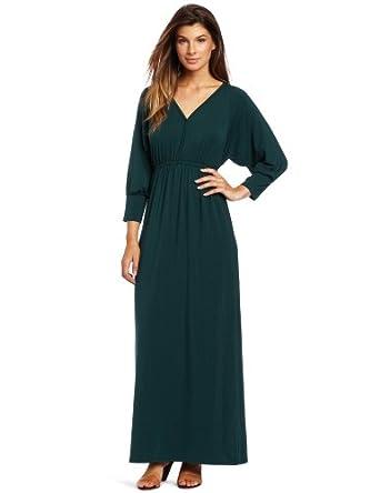 Lilla P Women's Stretch Dolman Sleeve V-Neck Maxi Dress, Pine, Small