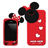 JH Gifts Disney Minnie Mouse Hide and Seek Silicone Case for iPhone 4 4S (red)