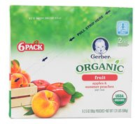 Gerber Organic Baby Food Pouches 2Nd Foods 3.5 Oz Apples & Summer Peaches -- 6 Pouches