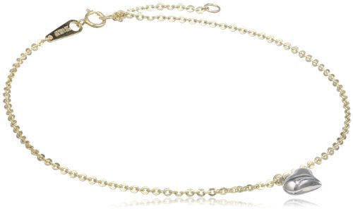 Bonded 14k Two-Tone Gold and Silver Heart Anklet