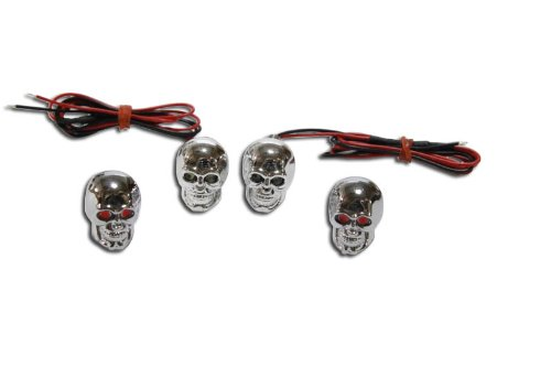 Skull Led Bolts & Chrome Skull Valve Caps License Plate - Red Led - Honda, Kawasaki, Suzuki, Yamha