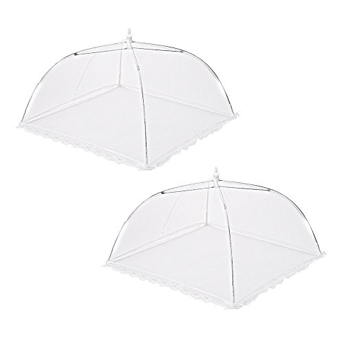 eBoot 2 Pack Pop-up Cloche anti-insectes Cloche Alimentaire Aliments Tente Pliable en Filet 17 x17 Pouce, Blanc